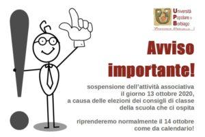 Università Popolare F. Petrarca di Borbiago – Mira (VE) – Avviso sospensione attività per il 13/10