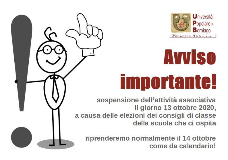 Università Popolare F. Petrarca di Borbiago - Mira (VE) - Avviso sospensione attività per il 13/10