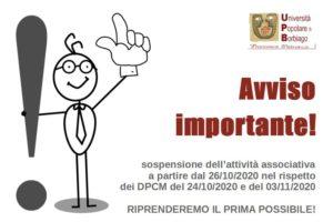 Università Popolare F. Petrarca di Borbiago – Mira (VE) – Avviso sospensione attività per DPCM