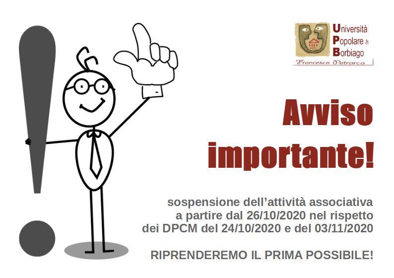 Università Popolare F. Petrarca di Borbiago - Mira (VE) - Avviso sospensione attività per DPCM