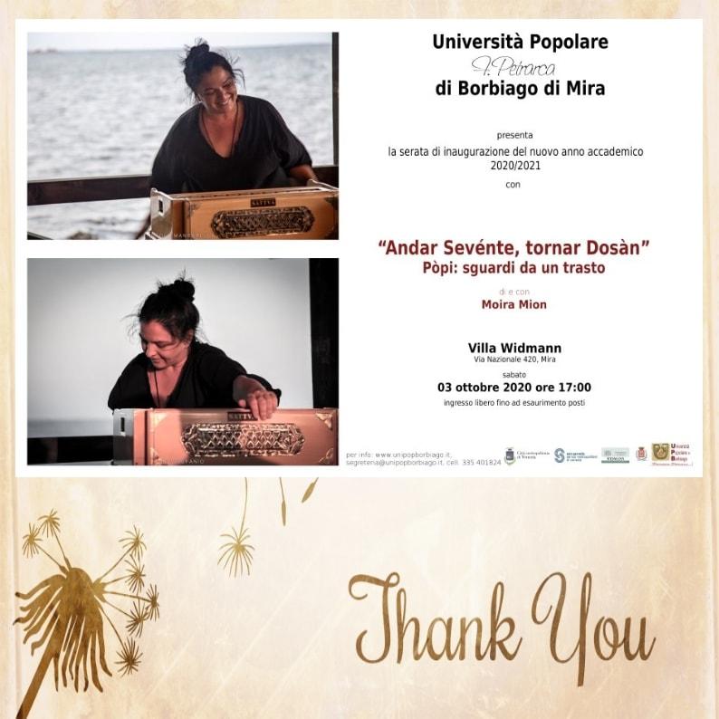 Università Popolare F. Petrarca di Borbiago - Mira (VE) - Inaugurazione anno associativo 2020/2021 con Moira Mion