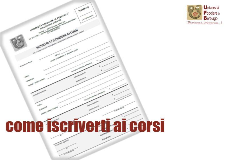 Università Popolare F. Petrarca di Borbiago - Mira (VE) - come iscriverti ai corsi