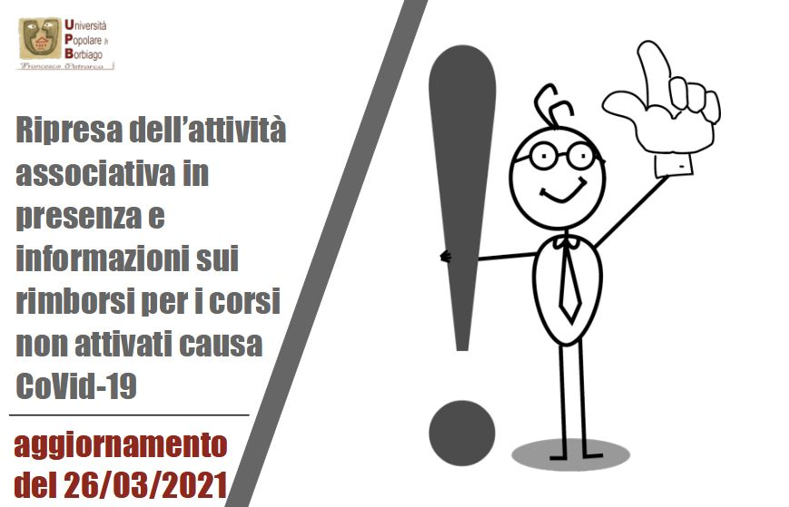 Università Popolare F. Petrarca di Borbiago - Mira, Aggiornamento ripresa attività in presenza